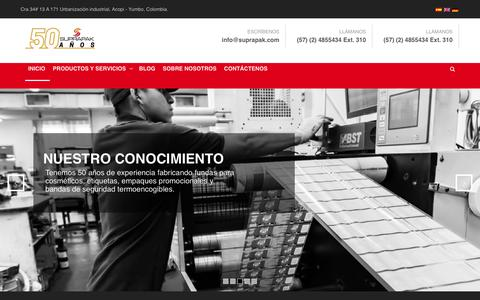 Screenshot of Home Page suprapak.com - Inicio - Suprapak - captured Nov. 18, 2018