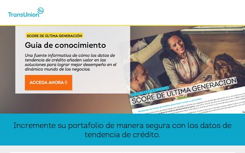 Screenshot of Landing Page transunion.com - Score Savvy | Trended Credit Data | TransUnion Colombia - captured March 5, 2018