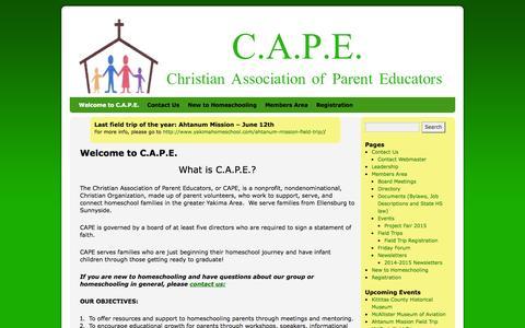 Screenshot of Home Page yakimahomeschool.com - C. A. P. E. | Christian Association of Parent Educators - captured June 19, 2015