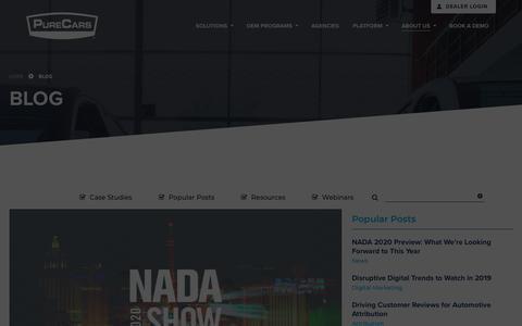 Screenshot of Blog purecars.com - Blog | Resources | PureCars Digital Solutions for Dealers - captured Jan. 18, 2020