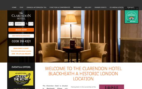 Screenshot of Home Page clarendonhotel.com - Home at The Clarendon Hotel | Blackheath, Royal Greenwich, London - captured July 18, 2018