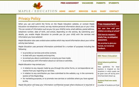 Screenshot of Privacy Page mapleeducation.co.uk - Maple Education | Privacy Policy - Maple Education - captured Oct. 27, 2014