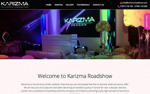 Screenshot of Home Page karizmaroadshow.com - Indian Wedding Djs, Asian Wedding DJ – Karizma London - captured Dec. 2, 2016