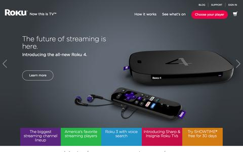 Screenshot of Home Page roku.com - Roku | Streaming TV & Media Player - captured Oct. 7, 2015