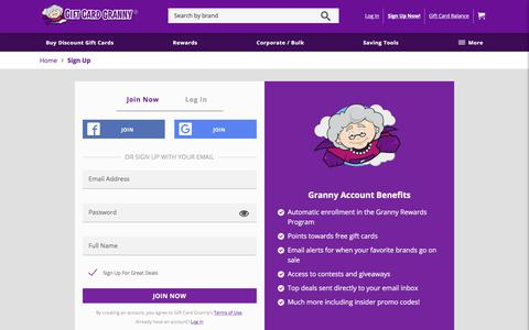 Screenshot of Signup Page giftcardgranny.com - Sign Up for a Gift Card Granny Account - captured Sept. 22, 2018