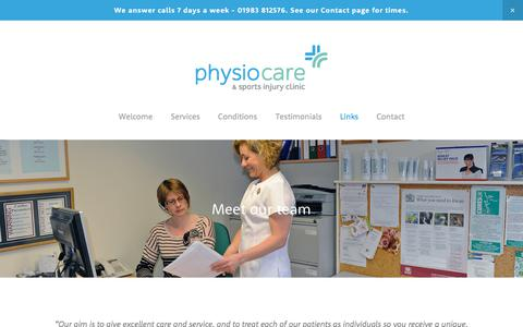 Screenshot of Team Page physio-care.com - The Team — PhysioCare & Sports Injury Clinic - captured July 18, 2018