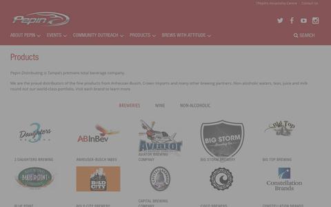 Screenshot of Products Page pepindistributing.com - Products - Pepin Distributing - captured Jan. 27, 2016