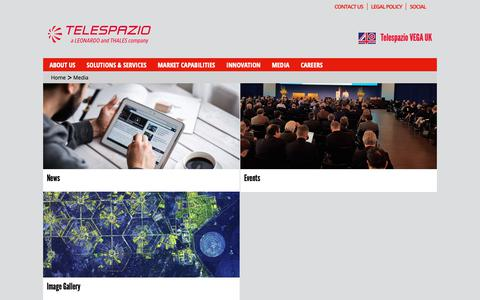 Screenshot of Press Page telespazio-vega.com - Media | Telespazio VEGA - captured Oct. 18, 2018