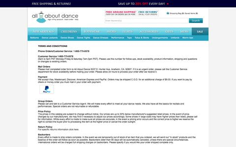 Screenshot of Terms Page allaboutdance.com - All About Dance - Terms and Conditions - captured June 22, 2017