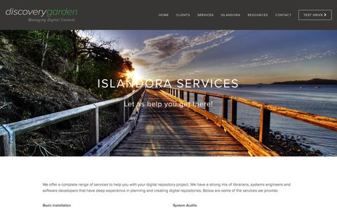 Screenshot of Services Page discoverygarden.ca - Services — discoverygarden - captured Sept. 25, 2015