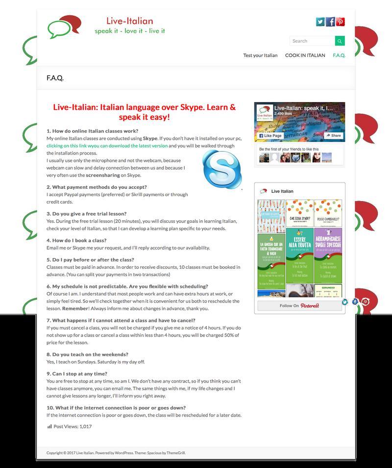 Web Design Timeline | A page on live-italian com | Crayon