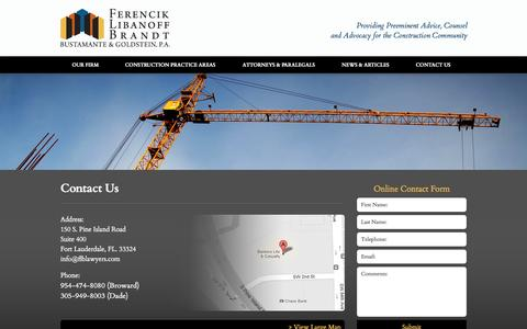 Screenshot of Contact Page constructionlitigators.com - Fort Lauderdale Construction Law Firm, Florida Construction Attorney - captured Oct. 5, 2014