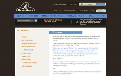 Screenshot of Testimonials Page koverroos.com - Testimonials - captured Oct. 26, 2014
