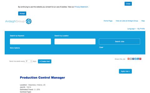Screenshot of Jobs Page ardaghgroup.com - Production Control Manager - captured Oct. 23, 2019