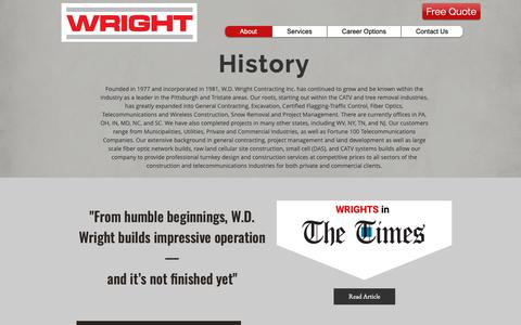 Screenshot of About Page wdwright.com - WDWrightContracting   | About - captured Oct. 18, 2018