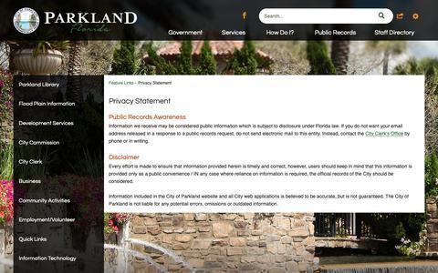 Screenshot of Privacy Page cityofparkland.org - Privacy Statement   Parkland, FL - captured Nov. 4, 2018