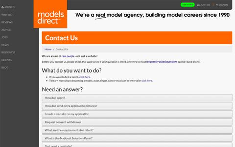 Screenshot of Contact Page modelsdirect.com - Contact Models Direct Talent Management Talent and Modelling Agency - captured Oct. 21, 2018