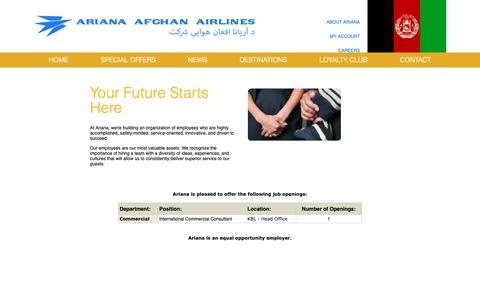 Screenshot of Jobs Page flyariana.com - : : : Ariana : : : Opportunities - captured Oct. 4, 2018