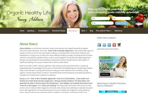 Screenshot of About Page organichealthylifestyle.com - About | Organic Healthy Life - Nancy Addison - Nutrition - captured Nov. 30, 2016