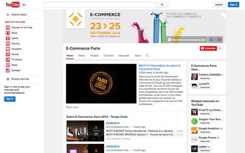 Screenshot of YouTube Page youtube.com - E-Commerce Paris  - YouTube - captured Nov. 2, 2014