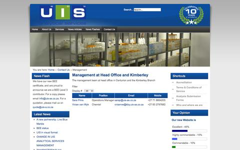 Screenshot of Team Page uis-as.co.za - UIS Analytical Services - Management - captured Oct. 3, 2014