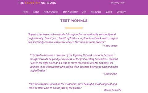 Screenshot of Testimonials Page thetapestrynetwork.com - Tapestry Network Testimonials - captured June 15, 2017
