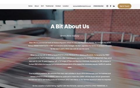 Screenshot of About Page bmmprint.co.uk - About | BMM Print Ltd - captured Nov. 13, 2018