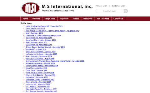 Screenshot of Press Page msistone.com - In the News | M S International, Inc. | Premium Surfaces - captured Nov. 18, 2015