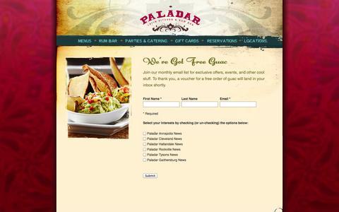 Screenshot of Signup Page paladarlatinkitchen.com - Paladar Latin Kitchen & Rum Bar / E-Mail Newsletter Sign-Up - captured Oct. 1, 2014