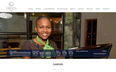 Screenshot of Jobs Page crestahotels.com - Careers - Cresta Hotels - captured July 23, 2018