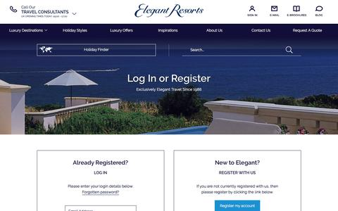 Screenshot of Login Page elegantresorts.co.uk - Members Login | Elegant Resorts - captured Sept. 9, 2017