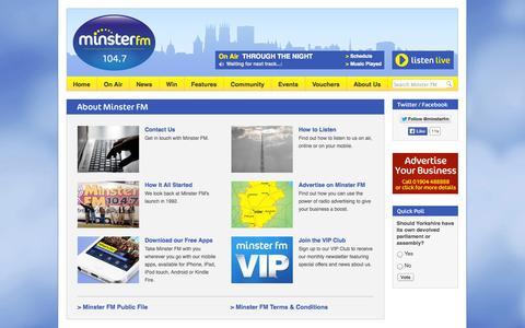 Screenshot of About Page minsterfm.com - 104.7 Minster FM - About Minster FM - captured Sept. 30, 2014