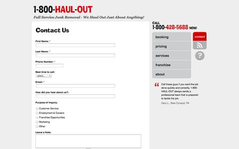 Screenshot of Contact Page Site Map Page 1800haulout.com - Contact Us | 1-800-HAUL-OUT - captured Oct. 27, 2014