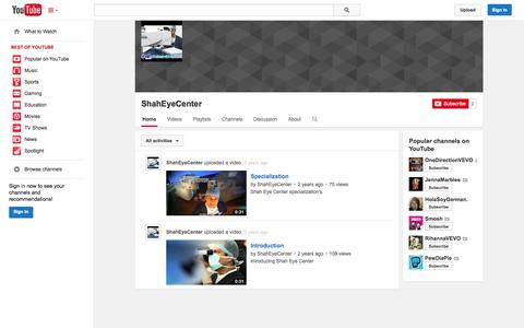 Screenshot of YouTube Page youtube.com - ShahEyeCenter  - YouTube - captured Oct. 26, 2014