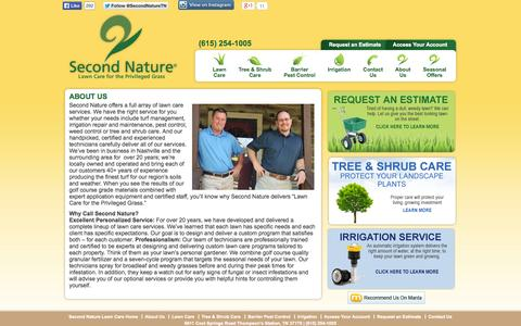 Screenshot of About Page secondnature.net - Second Nature Lawn Care – About Us - captured Oct. 6, 2014