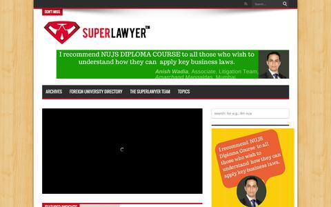 Screenshot of Home Page superlawyer.in - SuperLawyer – share your career experience and professional insights with law students and lawyers | Curating career insights for lawyers and law students, one interview at a time - captured Aug. 4, 2015