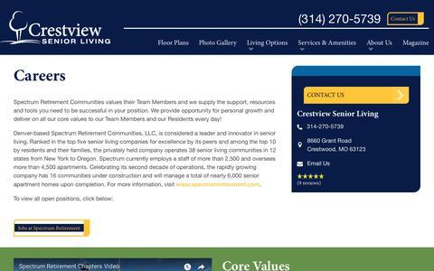 Screenshot of Jobs Page spectrumretirement.com - Careers At Crestview Senior Living - captured Jan. 31, 2018