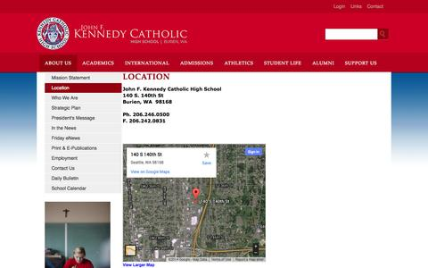 Screenshot of About Page kennedyhs.org - Kennedy Catholic High School - captured Oct. 6, 2014