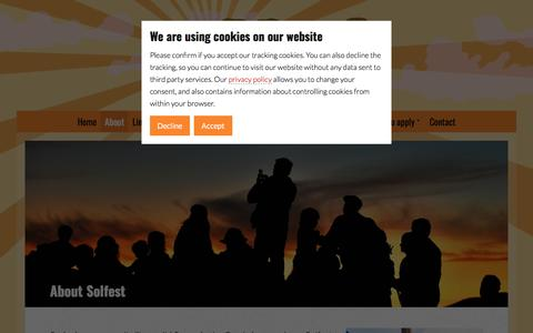 Screenshot of About Page solfest.org.uk - About Solfest - Solfest - captured Sept. 21, 2018