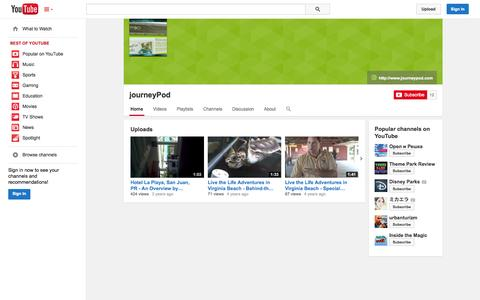 Screenshot of YouTube Page youtube.com - journeyPod  - YouTube - captured Oct. 23, 2014