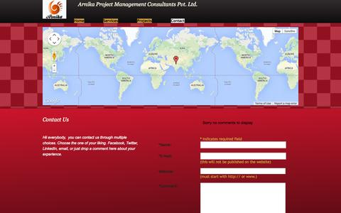 Screenshot of Contact Page arnikagroup.in - Contact - captured Oct. 4, 2014