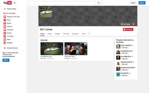 Screenshot of YouTube Page youtube.com - 24-7 Limos  - YouTube - captured Nov. 5, 2014