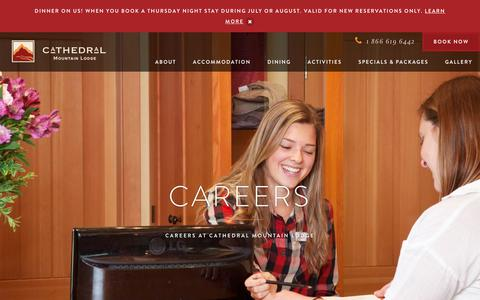 Screenshot of Jobs Page cathedralmountainlodge.com - Careers | Cathedral Mountain Lodge - captured July 16, 2018
