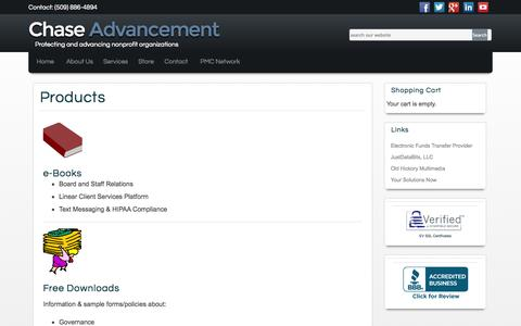 Screenshot of Products Page chaseadvancement.com - Products   Chase Advancement Incorporated - captured Oct. 2, 2014