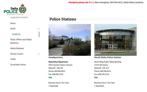 Screenshot of Locations Page deltapolice.ca - Locations - Delta Police Department - captured Oct. 8, 2018