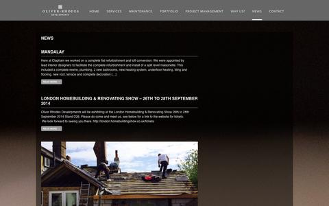 Screenshot of Press Page ord.uk.com - News | Oliver Rhodes Development - captured Oct. 26, 2014