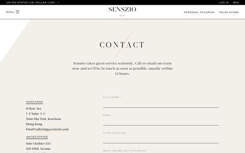 Screenshot of Contact Page senszio.com - Contact - Senszio - captured Oct. 20, 2018