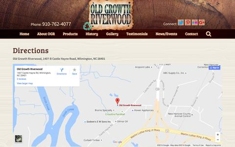 Screenshot of Maps & Directions Page oldgrowthriverwood.com - Old Growth Riverwood           Directions - captured Nov. 29, 2016