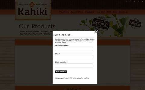 Screenshot of Products Page kahiki.com - Our Products -Kahiki - captured Feb. 12, 2016