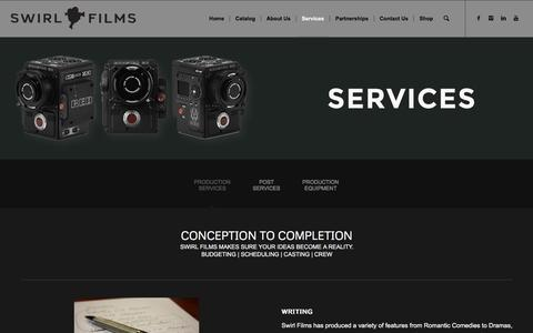 Screenshot of Services Page swirlfilms.com - Services – Swirl Films - captured Sept. 21, 2018